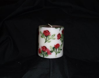 Red Roses Hand Painted on White Pillar Candle