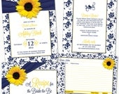 Printed Sunflower Navy Blue Yellow White Floral Ribbon Bridal Shower Invitations & Recipe Cards