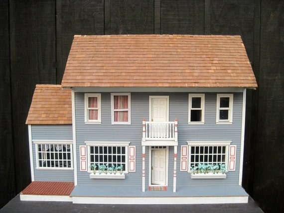 Vintage Two Story Hand Crafted Grey Amp White Dollhouse