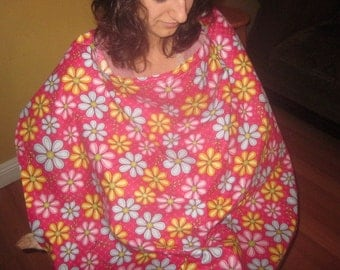 Nursing wrap/Cover -pink with blue/yellow/pink daisies