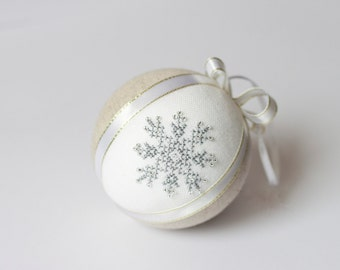 Christmas tree decor natural linen covered with silver cross stitch glitter snowflake