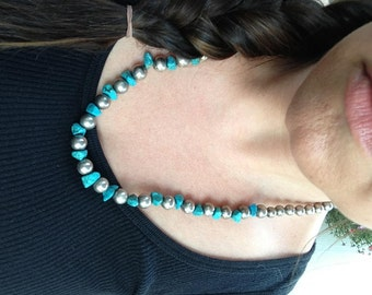 ON SALE Sterling Silver Bead and Chunky Turquoise Necklace