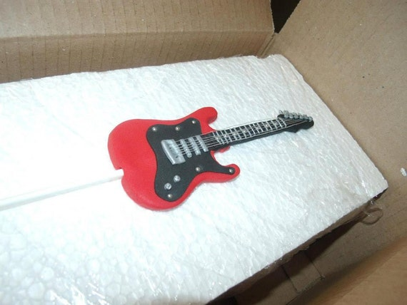 Guitar Cake Images With Name : Fondant guitar cake topper custom color of choice