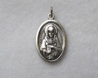 St Alice of Schaerbeek St Adelaide Aleydis  Religious Catholic Patron Saint Blind Paralyzed Silver Oxidized Pendant Reversible Medal Italy