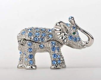 Silver & Blue Elephant Trinket Box Decorated with Swarovski Handmade Original Artwork by Keren Kopal