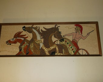 A sweet mid century modern wall art mixed wall hanging Roman gladiator on three stallion drawn chariot SUPERB and LARGE