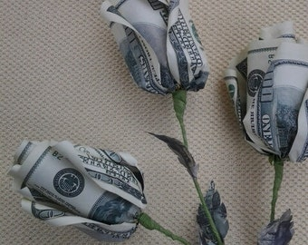 origami flowers roses . money flower ,  gift ,  good luck souvenire