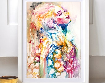 Mental - wall art watercolor print. Colorful portrait of woman, home decor.