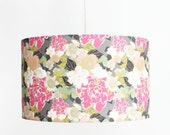 Modern Lamp Shade - Pendant Light - Swag Light - Vintage Floral - Choose Your Size - Grey, Fuchsia, Peach, Mint, Black