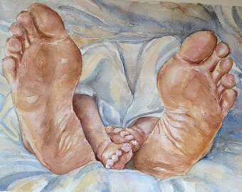 Original watercolor painting ... 'Happy feet vol. 1 watercolor art original art,nursery painting