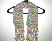 SALE - Sherbet Print Crochet Scarf with Fringe