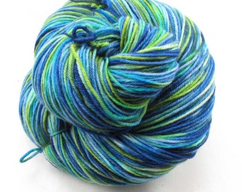 Hand Painted Sock Yarn.  Superwash Merino, Cashmere, Nylon. Blue, Turquoise, Greens.