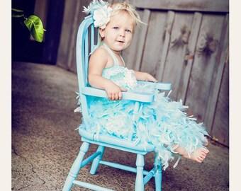 Lite blue feather dress
