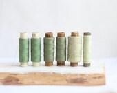Soviet Vintage Thread Spools - set of 6 - Green
