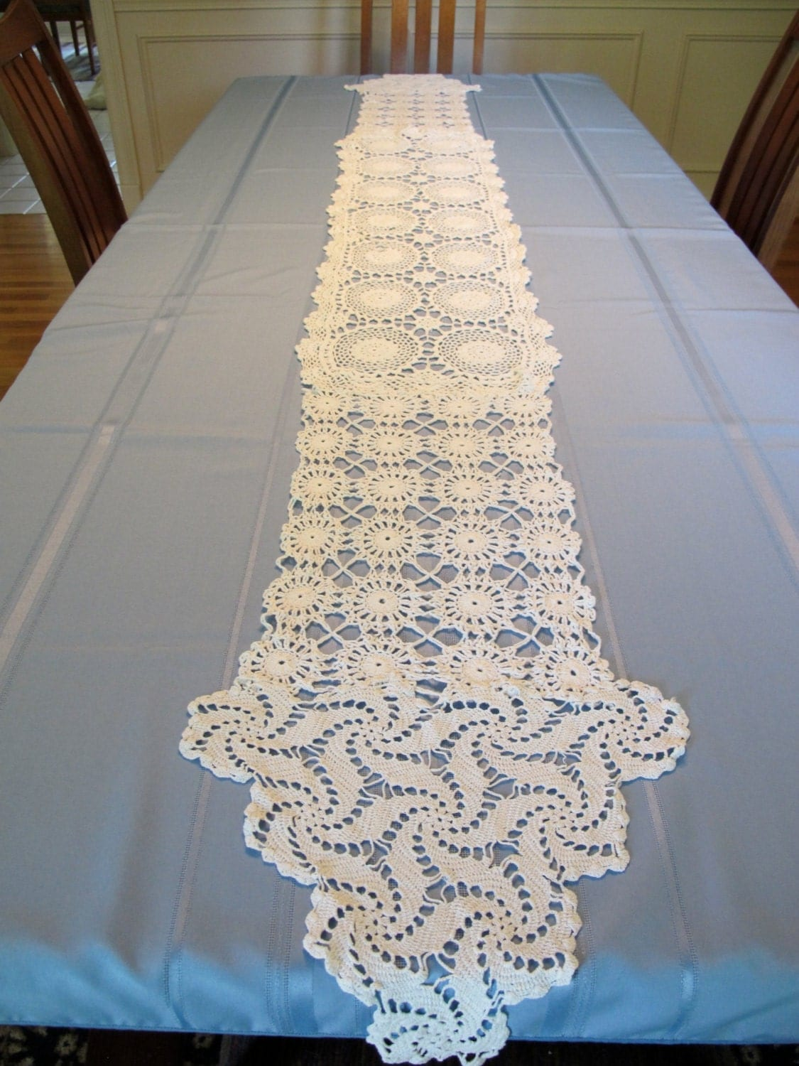 Crochet Patterns Lace Table Runners : White Lace crocheted Table Runner for weddings or receptions