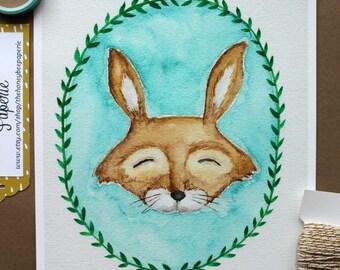Children's Art/ Hare Art Print/ Kids Art- 8x10