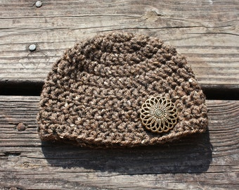 Chunky Crochet Hat with Button Detail - Newborn to Child Sizes