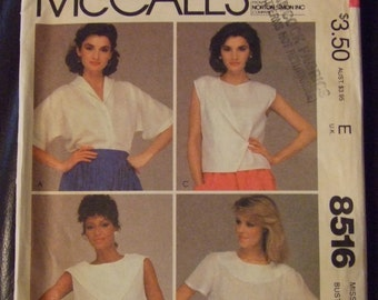 McCall's 8516 Misses Top Size 8  UNCUT 1983 80s Shirt 4 Styles