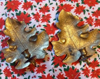 Set of 2 Vintage Brass Leaf Wall Sconces Candle Holders by Fritz Brass The Very Finest