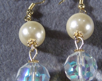 Vintage Yellow Gold Tone Round  Aurora  Borealis Faux Pearl Euro Wire Pierced  Dangle Earrings        W