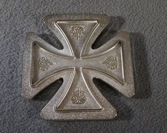 Vintage Silver Tone Religious  Dimensional Raised Relief Fancy Cross Paper Weight Home Decor Piece