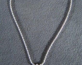 Vintage  Sterling Silver Fancy 5 Round Cubic Zirconia Pendant Charm Necklace Chain      W