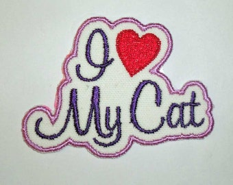 Iron-On Patch - I LOVE MY CAT