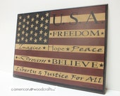 "Americana Sign Flag Sign Wood Plaque Signs w/ Sayings  12""x16"""