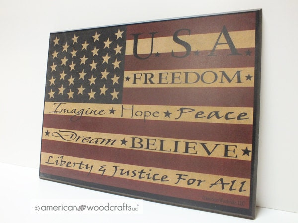 Americana Sign Flag Sign Wood Plaque Signs W Sayings