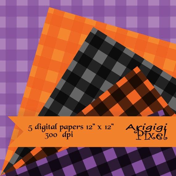 gingham scrapbooking digital collage sheet - Halloween colors - black, orange, purple