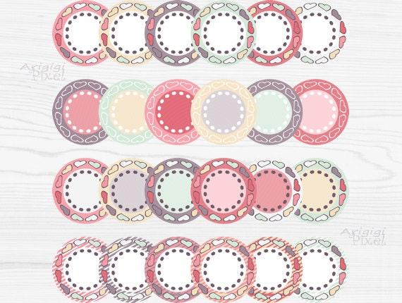 Valentine hearts circles - clip art set - digital labels - download