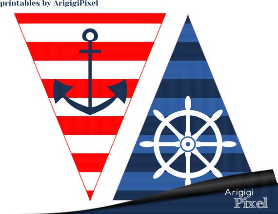 Happy birthday nautical banner anchor pennants for birthday happy birthday nautical banner anchor pennants for birthday party red blue sailor birthday printable pdf file pronofoot35fo Choice Image