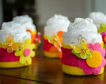 SPRING SALE, Spring Baby Shower, Mini Diaper Cakes, Flower Diaper Cupcakes for Spring or Flower Girl Baby Shower