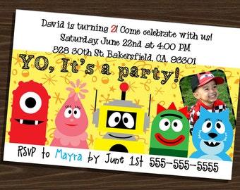 4x6 YO GABBA GABBA printable birthday invitation with picture