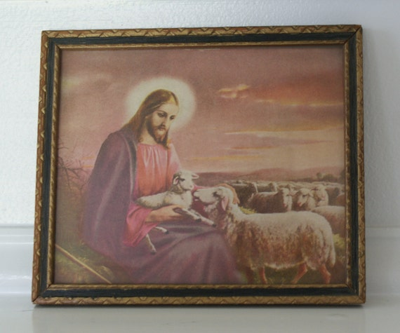 Vintage Framed Jesus With His Sheep Wall Hanging