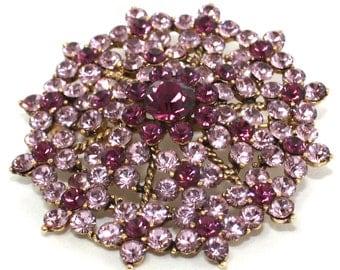 Vintage amethyst crystal starburst brooch pin