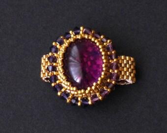 Amethyst, Purple Swarovski Crystal and Gold Beaded Ring, handmade, costume jewellery