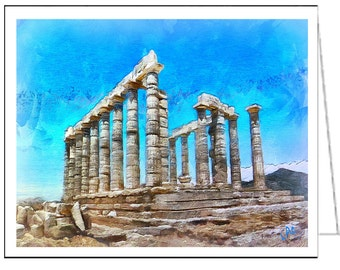 Ancient Greece - Temple of Posseidon - Set of 6 Blank Notecards and Envelopes
