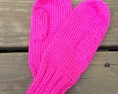 Hot Pink Mittens, Knit Mittens for Kids 7-8, Neon Pink Mitts, Bright Pink Mittens for Kids, Hand Knitted Mittens, Kids Winter Mittens