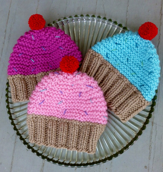 Knitting Pattern Cupcake Beanie : INSTANT DOWNLOAD Cupcake Hat Knitting Pattern,Knit Cupcake ...