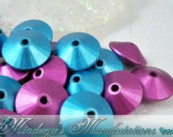 50 Teal & Purple Acrylic Saucer Beads 14mm