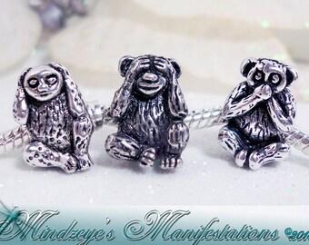 Hear, See & Speak No Evil Monkey Euro Beads Antq Silver Finish