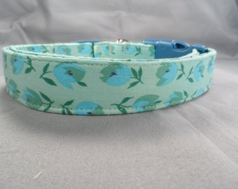 Blue Flowers on Mint Green Dog Collar