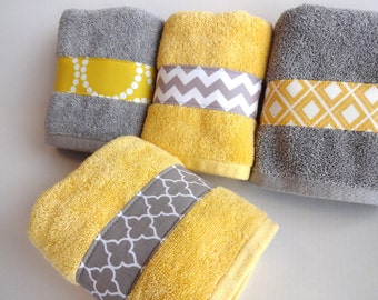Bathroom Hand Towels you pick custom bling yellow and gray towels custom grey and
