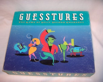 GUESSTURES The Game of Split Second Charades Hasbro 1990 Party