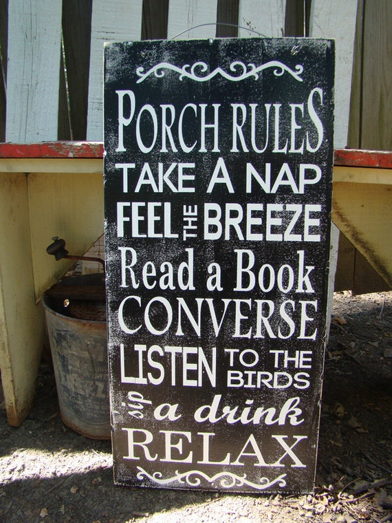 Items Similar To Porch Rules Distressed Wood Sign Annie S