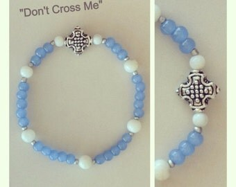 Handmade Silver cross with blue beads and shells bracelet