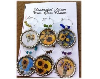 Wild Sunflower Wine Glass Charms
