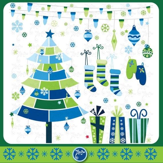 "Christmas Tree Decoration Elements: Christmas ClipArt "" CHRISTMAS ELEMENTS"" Clip Art,Blue"