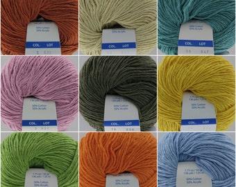 Cotton-Acrylic Yarn, Berlini Smile, Italian Yarn, Cotton-Acrylic Blend, 50 gr, DK Weight Yarn, Spring Summer Wear, 136 yards each Skein,